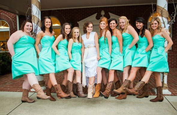 Can't stand the boots, but love the color of the dresses... so pretty!