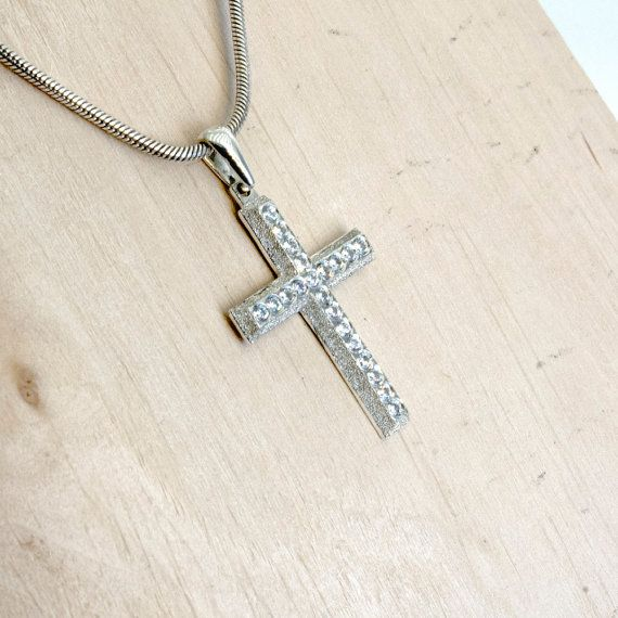 Cross Necklace Crystal Necklace Cross Jewelry Sterling Silver Swarovski Crystal, Ask for engraved message on the back 23,00 US$