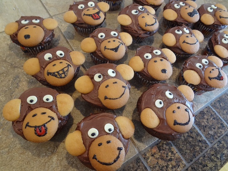 Monkey Cupcakes - choc icing, nilla wafers and upside down white choc chips for eyes.