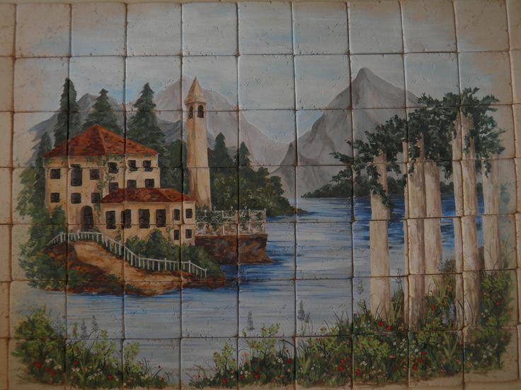 Handmade tiles (9,6x9,6 cm) Travertine painting on greek monasteries. Dimension performances 0,90x0,70 cm www.travertinodesign.gr