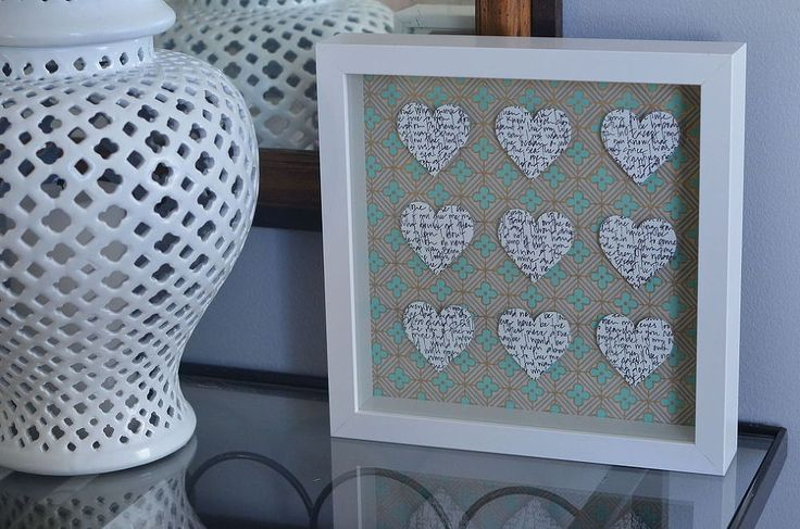 Valentine's Shadow Box :: Hometalk. I like the thought of adding captions, pictures, or verses that pertain to your relationship and mean something to the two of you!