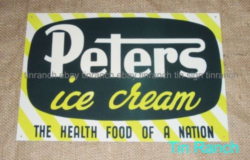 PETERS-ICE-CREAM-TIN-SIGN-New-vintage-Australian-retro-SHOP-DELI-advertising