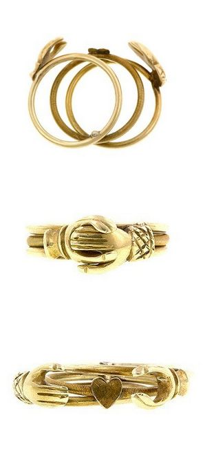 Love the sentiment behind this antique gold fede gimmel ring from Doyle & Doyle. The sleeve cuffs are even different!