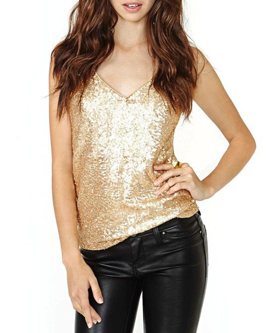 Gold Sequins Western Style Sexy Shiny Suspender Tank