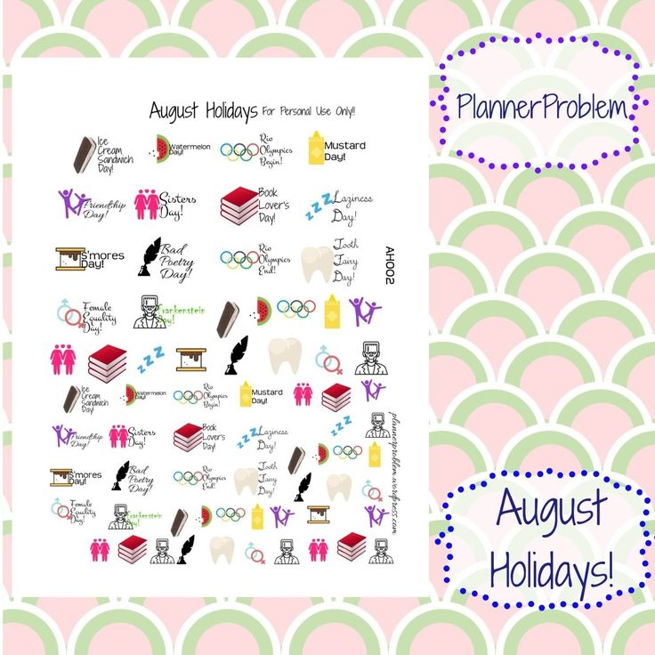 August Holidays! | Free Printable Planner Stickers from plannerproblem.wordpress.com! Download for free at https://plannerproblem.wordpress.com/2016/08/01/august-holidays-free-printable-planner-stickers/