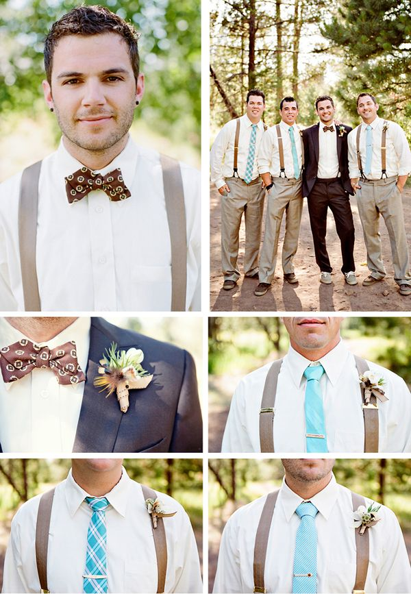 Well-Groomed Groom: Switch It Up -  A groom and his groomsmen sport very different looks. #wedding #bow_tie #suspenders #boutonniere