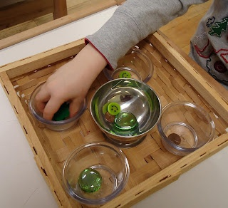 Stereognostic Exercise:  The child matches items by touch only.