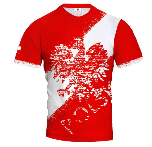 POLSKA STREET Poland Men's Fan Short Sleeve Jersey Red EAGLE & STRIPE