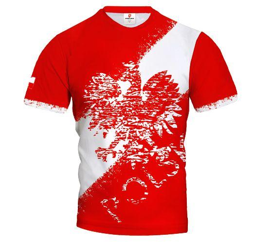 POLSKA STREET Poland Men's Fan Short Sleeve Jersey Red EAGLE & STRIPE