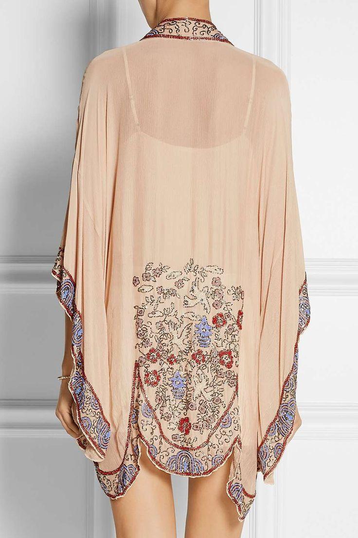 Anna Sui Bead-embellished crinkled silk-chiffon kimono jacket for $955 / Wantering