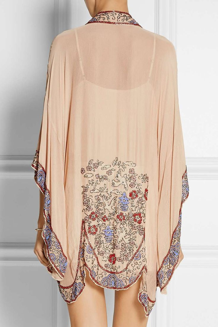 Anna Sui Bead-embellished crinkled silk-chiffon kimono jacket for $955 / Wantering