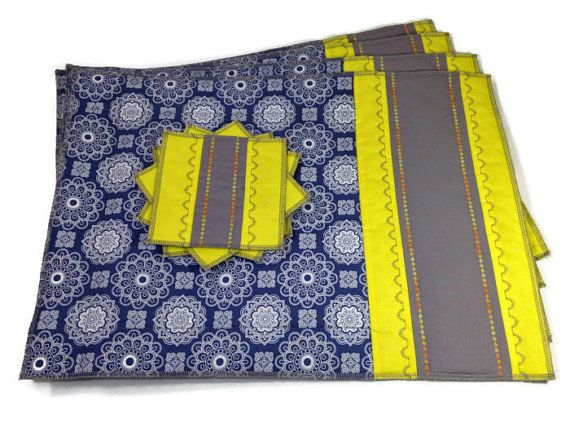 Blue Yellow Placemats Quilted Table Linens Set of 4 by ModernArras, $74.99