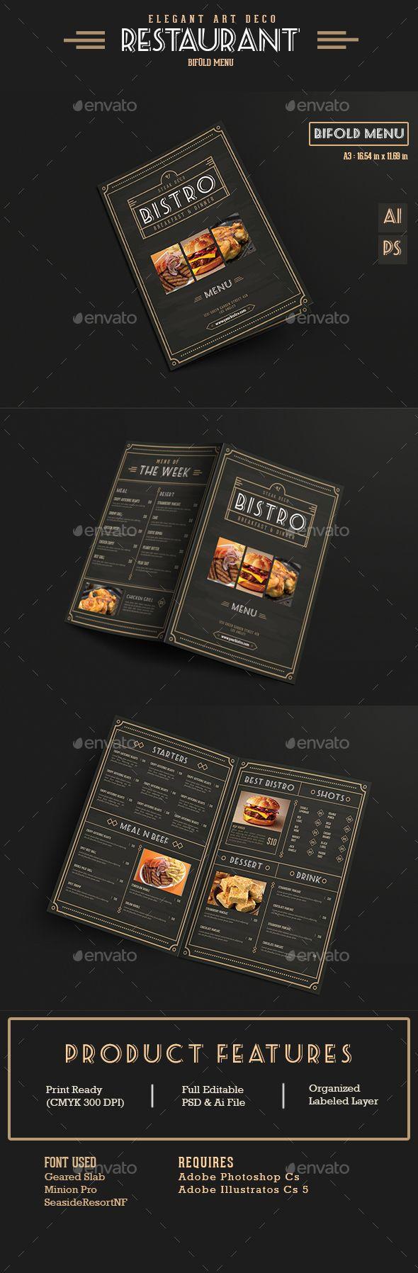 Elegant Bifold Restaurant Menu Template PSD, AI #design Download: http://graphicriver.net/item/elegant-bifold-restaurant-menu/13786387?ref=ksioks