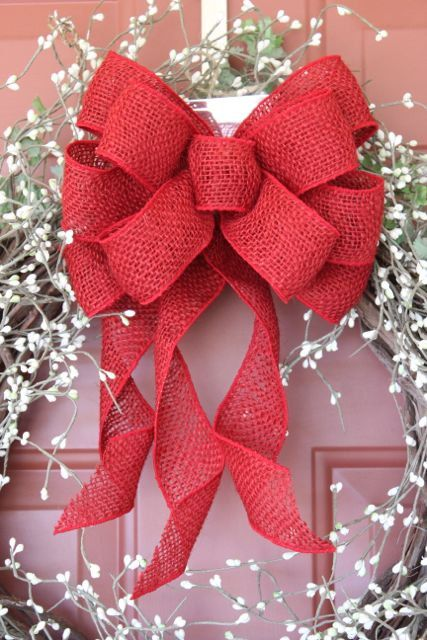 red burlap wreath bow burlap bow burlap decor by therusticraven 1500 christmas pinterest wreaths burlap wreath and burlap bows