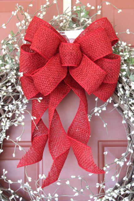 red burlap wreath bow burlap bow burlap decor by TheRusticRaven, $15.00