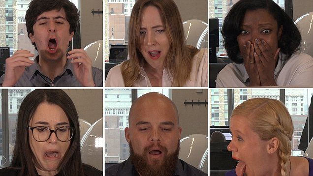 Daily Mail staff react in horror to man popping his pilonidal cyst in front of a camera.