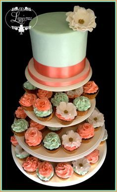 coral mint and burlap wedding cakes and cupcakes - Google Search