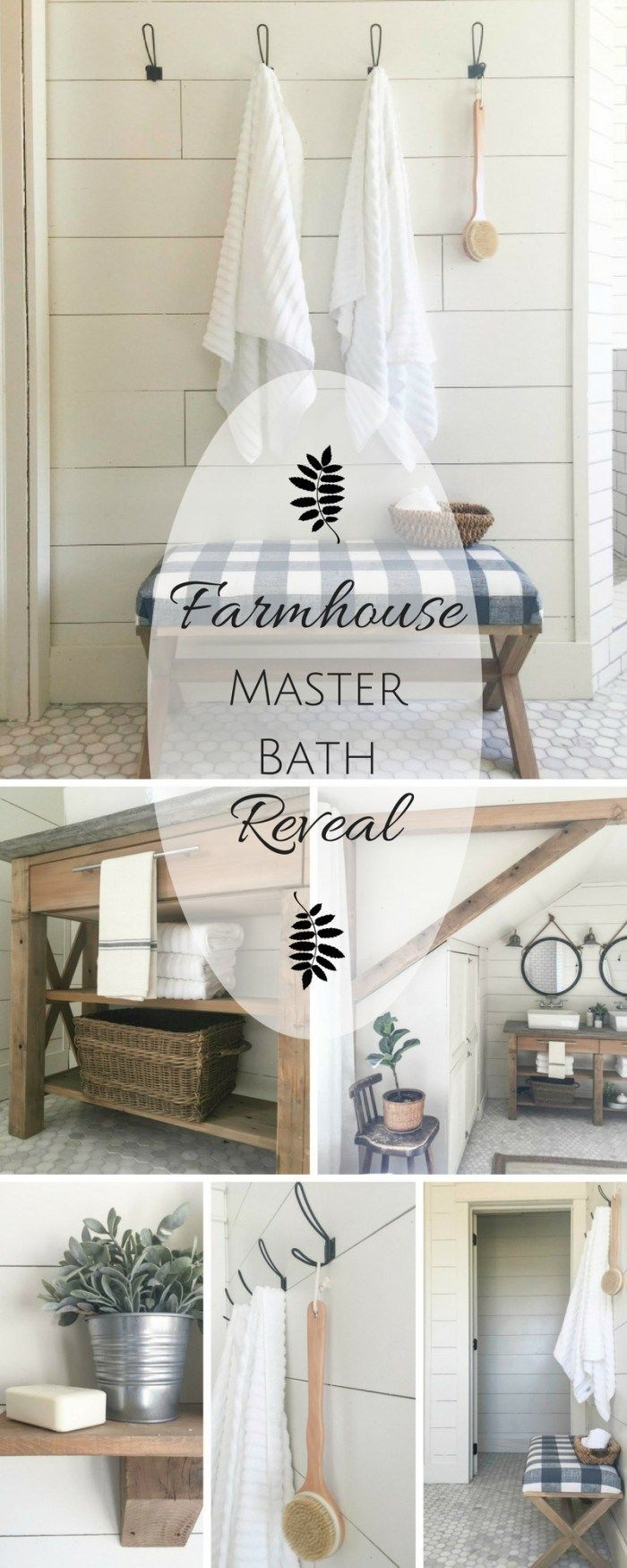 This farmhouse style master bathroom makeover is so amazing!  I cant believe they did everything themselves!