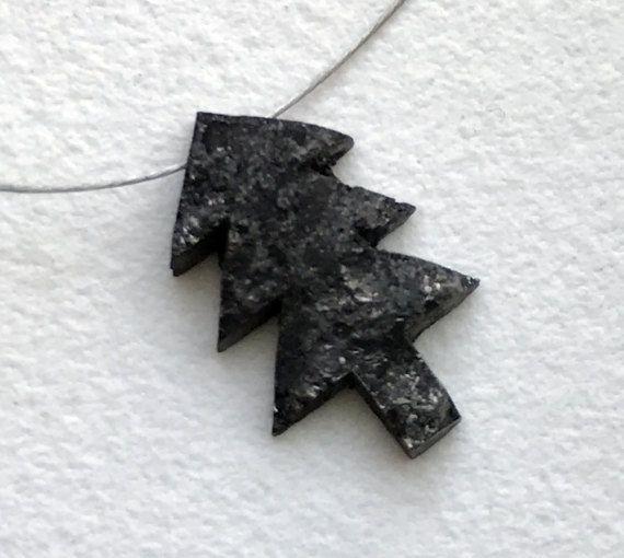1 Pc 9x14.5mm Black Rough Diamond Christmas Tree by gemsforjewels