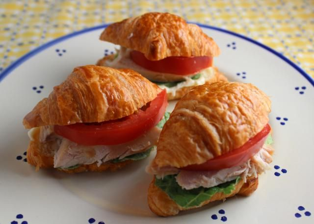 Mini Chicken Croissant Sandwiches are a wonderful choice for a child's lunchbox or for an after school snack.