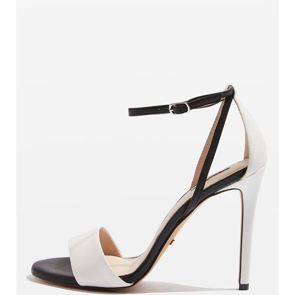 Topshop Raphael Sandals ($54) ❤ liked on Polyvore featuring shoes, sandals, monochrome, black and white strappy sandals, black and white sandals, black and white shoes, high heel sandals and wedding shoes