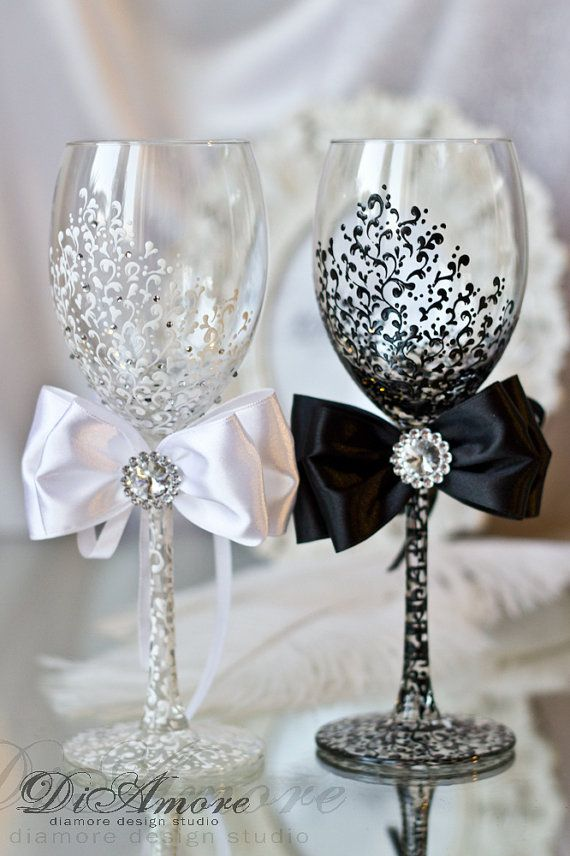 Personalized wedding glasses from the collection LACE decorated with hand ( with lace pattern black & white, hand painted, satin ribbons and crystal