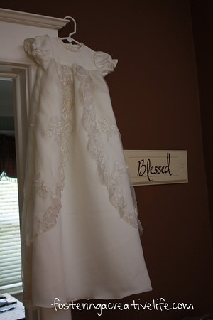 wedding dress repurposed into a baby dedication gown