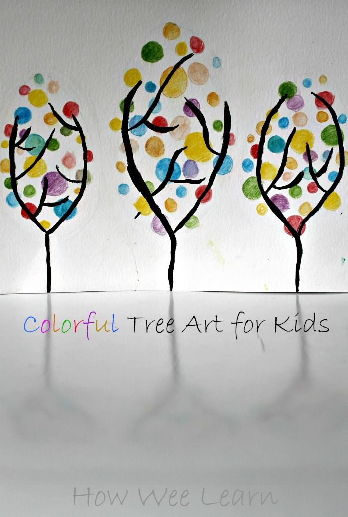 Spring art projects for kids can't get cheerier than these colorful trees!  Such a fun and easy way to introduce some real art techniques - with a stunning outcome!  Great for preschoolers and big kids too!