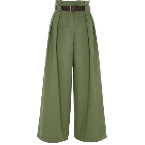 River Island Petite green paperbag waist wide leg pants (1.780 ARS) ❤ liked on Polyvore featuring pants, green, wide leg trousers, women, petite pants, tall pants, woven pants, zipper pants and paperbag pants