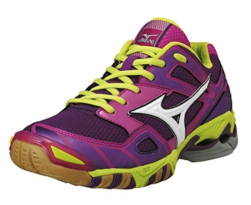 MIZUNO Wave Bolt 3 Ladies Indoor Shoe, Purple/Lime, US8.5 Mizuno http://www.racquetballplanet.com