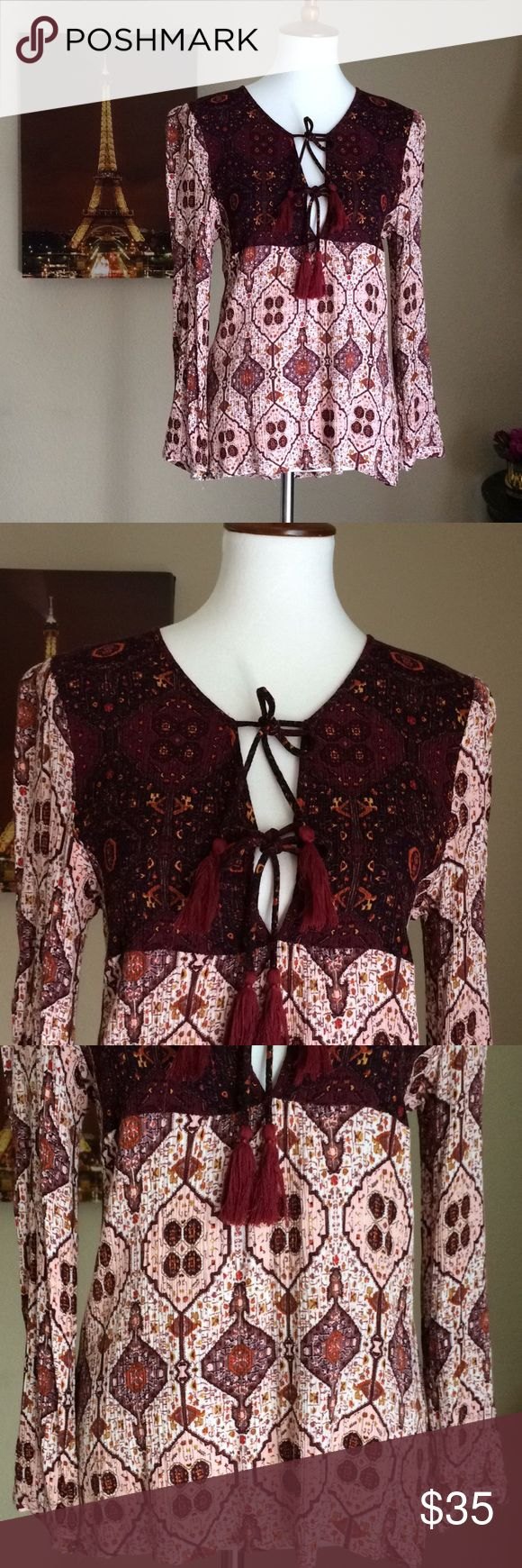 """House of Bohemian Blouse Sz L Length 25"""" to 26"""" approx Bust 17"""" Excellent Like New no flaws Cute bohemian blouse with tassels Boho Top Gorgeous! House of Bohemian Tops Blouses"""