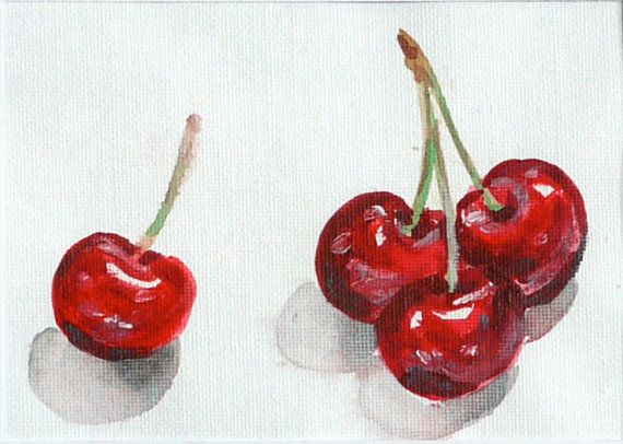 Cherries original small acrylic still life painting by BirdyFruits, Ft12000.00