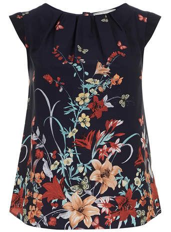 Billie and Blossom Navy butterfly shell top
