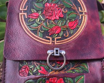 Purse - Bag / Leather / Women / Red,Rose, Garden / Custom / Messenger Bag / Organizer / Hand Carved and Tooled /  Hand Made / Flower / Woman