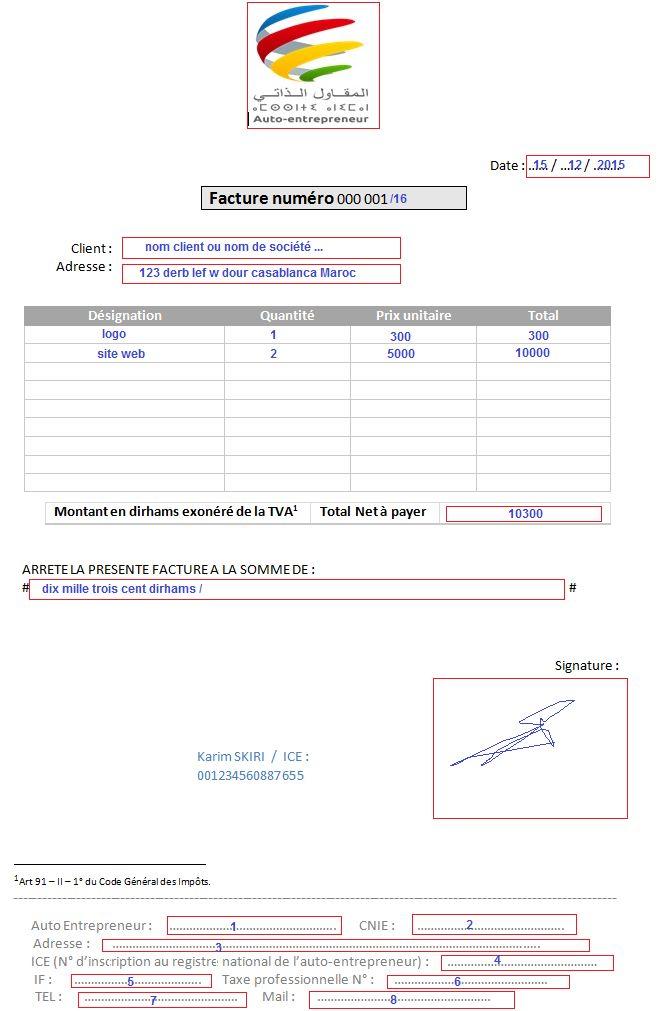 facture auto entrepreneur maroc | Entrepreneur, Map