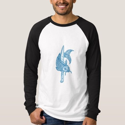 Koi Nishikigoi Carp Fish Knife Drawing T-shirt. Drawing sketch style illustration of a trout fish and a cook's knife viewed from front set on isolated white background. #Drawingsketch #KoiNishikigoiCarpFish