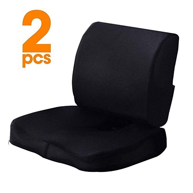 Kwlet Seat Cushion Coccyx Orthopedic Memory Foam And Lumbar Support Pillow Set Of 2 Coccyx Seat Cushion For Low Coccyx Seat Cushion Support Pillows Cushions