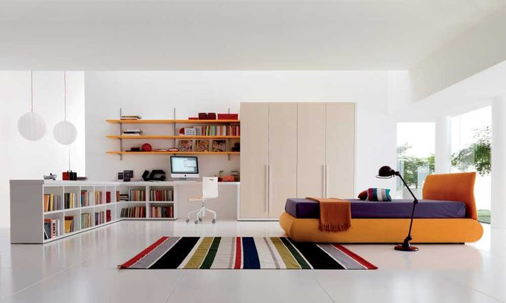 Simple Cupboard Designs for Bedrooms  with Colorful Accents and Open Storage