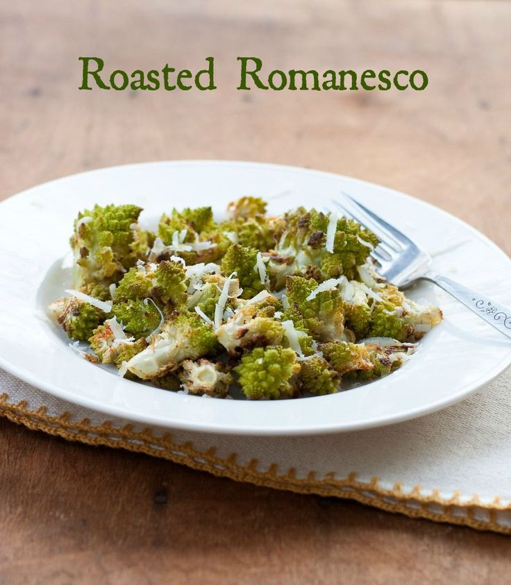 Roasted Romanesco with Pecorino Romano | adapted by lightly (5 min) steaming romanesco, sautéing with garlic, sweet onion, roasted red garden tomatoes, and kalamata olives. Top with shredded Pecorino Romano cheese.