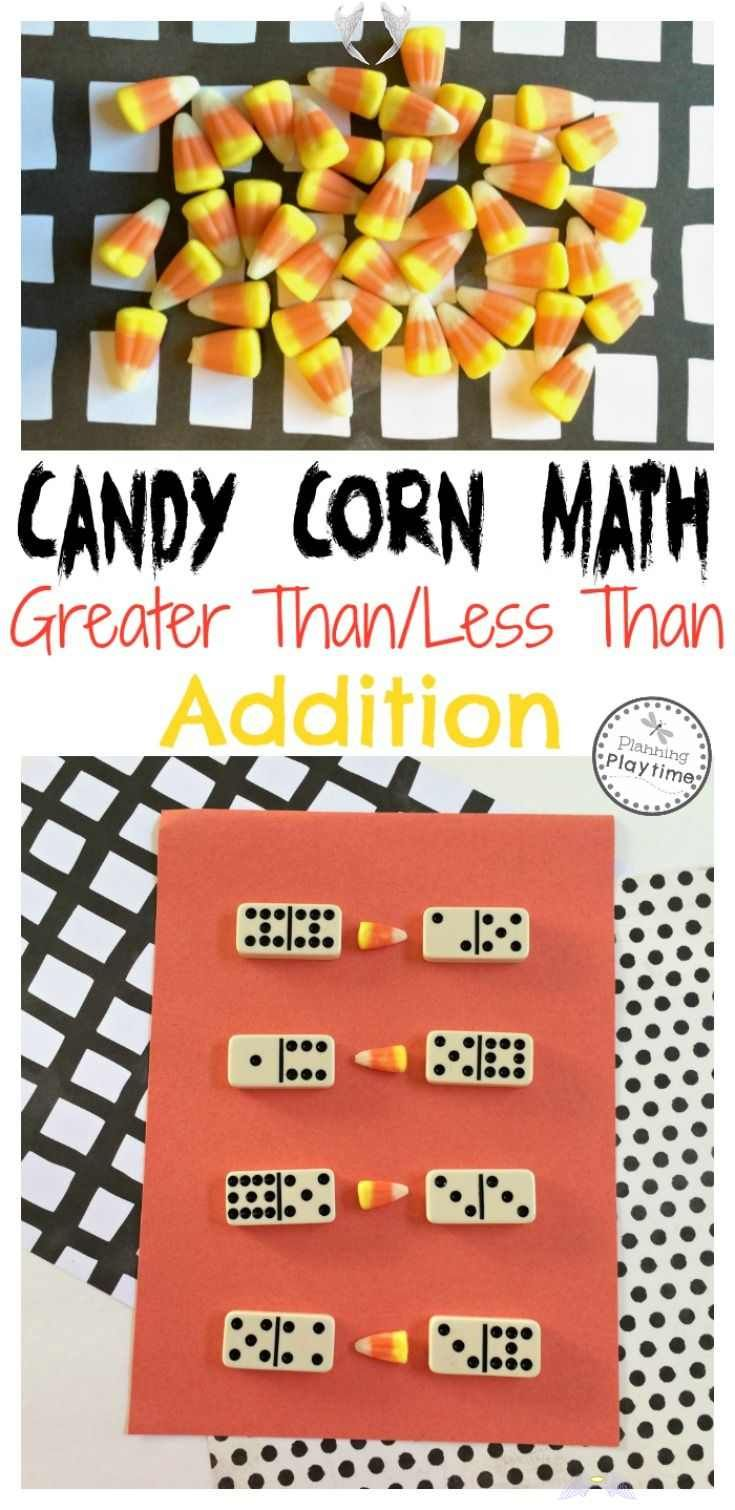 Candy Corn Math Activity Dominoes Greater Than Less Than And Addition Candy Corn Math Activity Dominoe In 2020 Halloween Math Activities Math Activities Fall Math