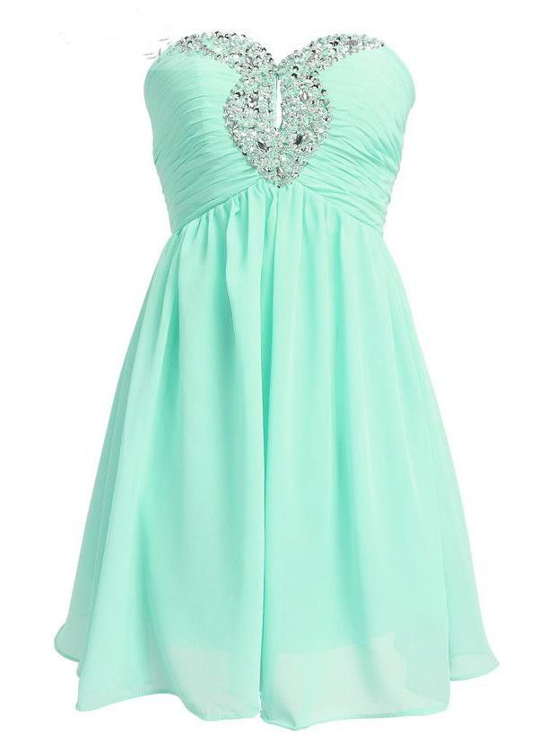 2016 Sweetheart Chiffon Mint Homecoming Dresses Short Bridesmaid Dress Prom…