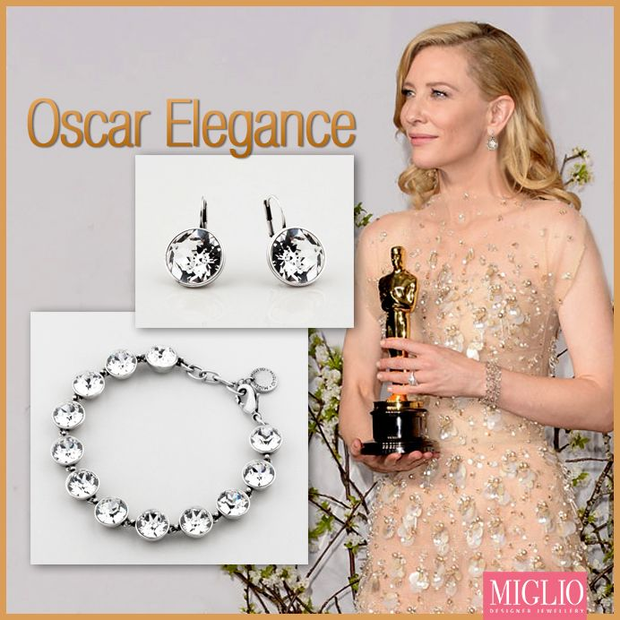 Double up for #Oscar elegance. Leading lady, Cate Blanchett's romantic look- #Swarovski crystal #bracelet & #earrings.