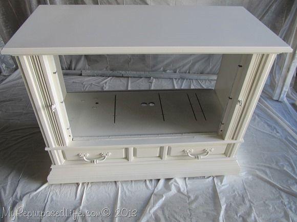 Repurpose Old TV Console Into Book Shelf