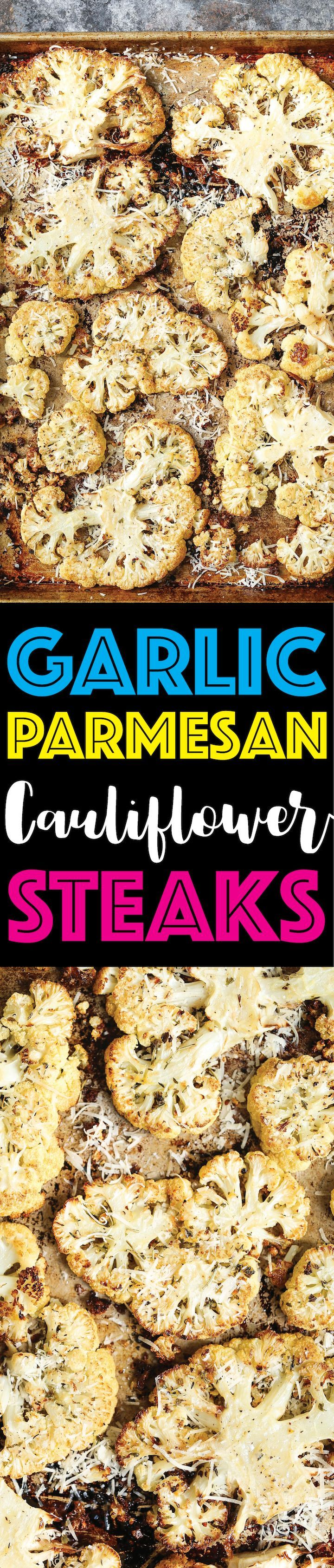 Garlic Parmesan Cauliflower Steaks - Your new go-to side dish! Roasted cauliflower is the best/easiest way to go! So crisp-tender and perfectly seasoned!