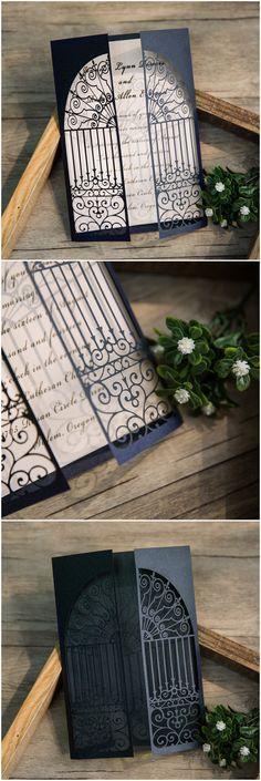 white and black romantic laser cut wedding invitations