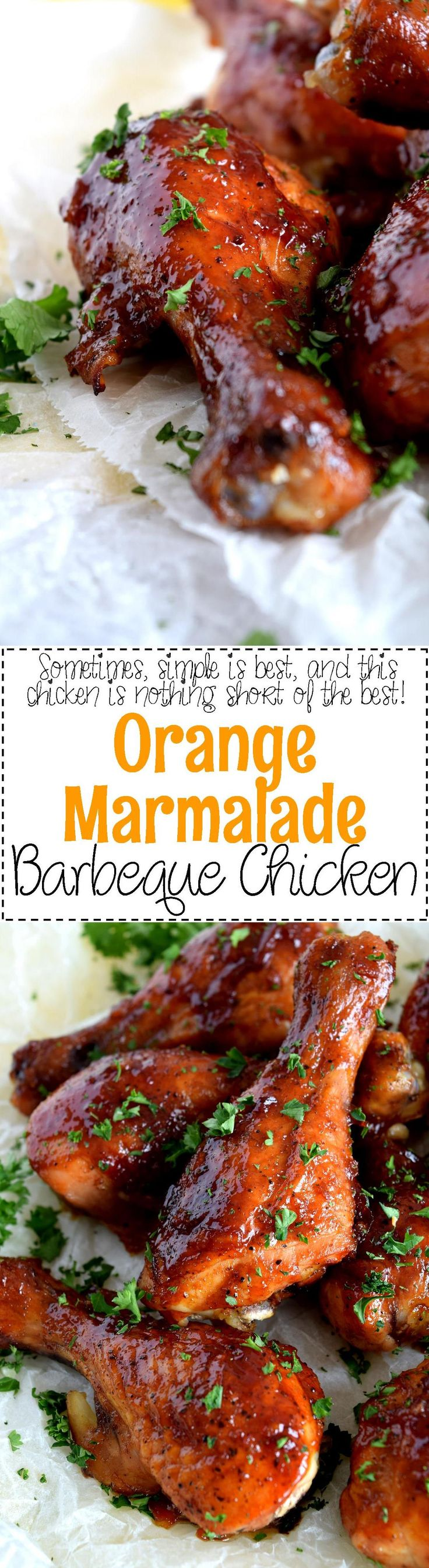 Orange Marmalade Barbeque Chicken - A deliciously easy and budget friendly dish which uses only three ingredients. Orange Marmalade Barbeque Chicken is about to make your dinnertime rush so much more relaxed and yummy!