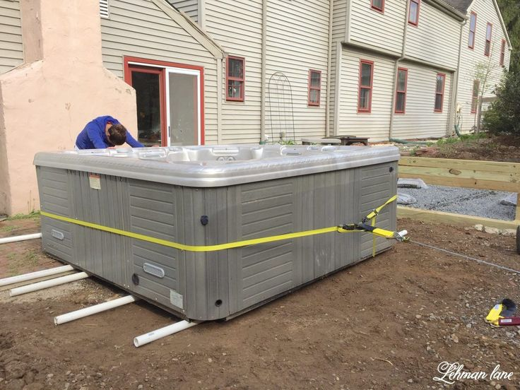 Moving a Hot Tub with just 2 People Hot tub patio, Hot