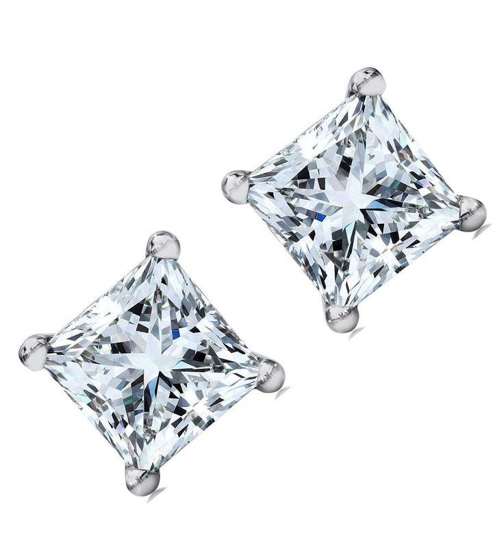 1 carats Screw back Princess cut artificial Diamond Stud EARRINGS 14K Solid GOLD #MFD #Stud