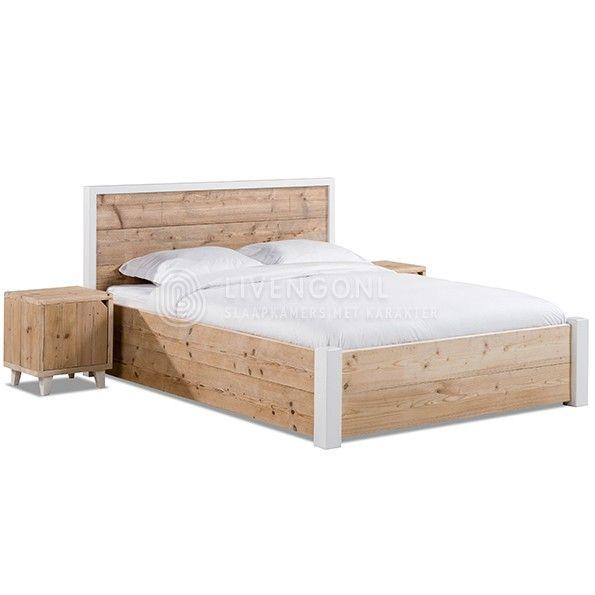 Steigerhouten bedden - model 'Listo'   scaffolding wood bed 'Listo'   http://www.livengo.nl/steigerhouten-bed/steigerhouten-volwassen-persoonsbedden/steigerhouten-bed-listo   #bedden #steigerhout #nachtkastje #naturel #livengo