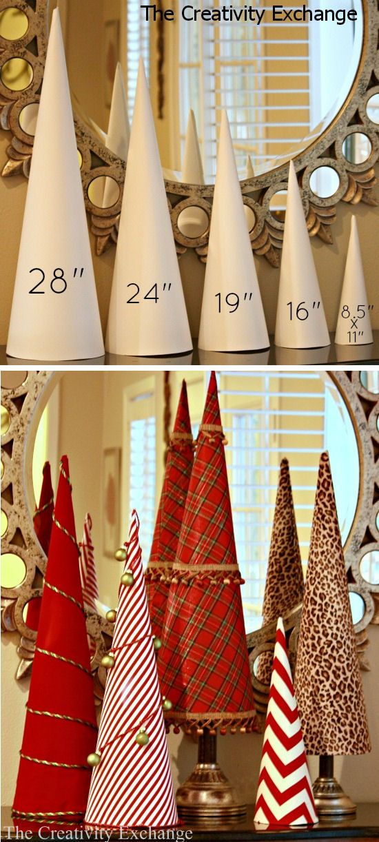 Never buy another craft cone again!! Here's a template for 5 sizes of craft cones that are used to make sturdy cones out of rolled poster board. These cones are just as durable as the paper mache (because they are rolled twice). ~ Templates & Tutorial! Darling ideas. #crafts #cones #templates #tutorials